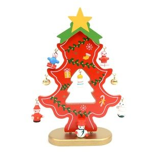 Red Wooden Christmas Tree Ornament Decoration